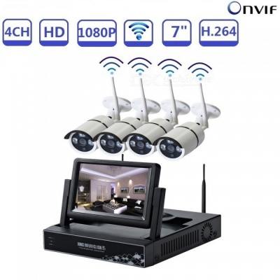 "STRONGSHINE CCTV 7"" LCD 4CH NVR Kit with 4Pcs 1080P Wi-Fi IP Outdoor Cameras, Security System Kits - UK Plug"