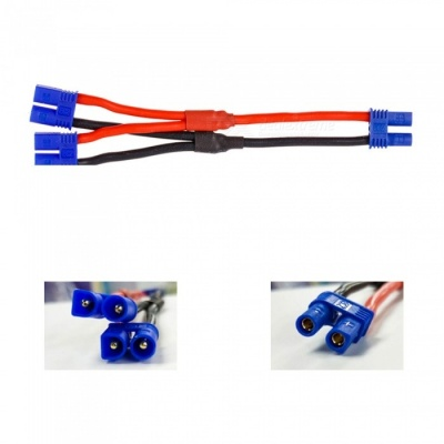 2Pcs Female EC2 Plug to Two Male EC2 Plug Cable Connector Adapter Wires for Hubsan H501S Drone Quadcopter Lipo Battery
