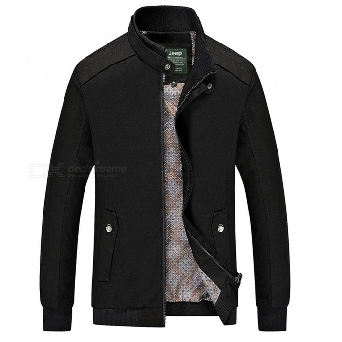 555 Casual Style Long Sleeved Pure Color Zipper Men's Cotton Slim Jacket for Outdoor Activities - Black (3XL)