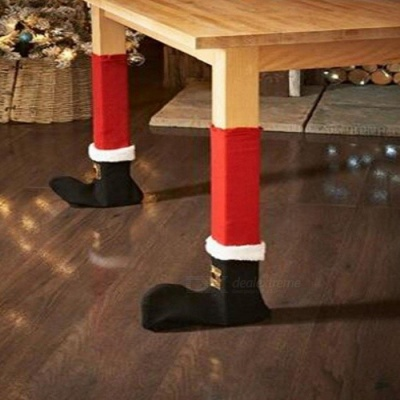 Belt Buckle Type Table and Chair Foot Cover for Christmas Home Decoration (4 PCS)