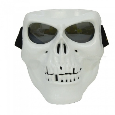 CARKING Creepy Horror Skull Protective Mask for CS Paintball Movie Party Cosplay Game Props - White + Translucent Black