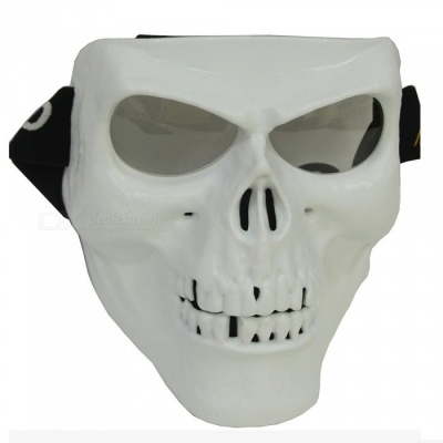 CARKING Creepy Horror Skull Protective Mask for CS Paintball Movie Party Cosplay Game Props - White + Translucent White