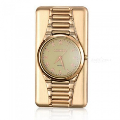 ZHAOYAO Multifunctional Ultra Thin Slim Watch, Windproof USB Rechargeable Electronic Cigarette Lighter - Golden