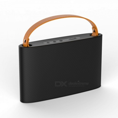 Portable Wireless Bluetooth Speaker with Handle, Classic Radio Design, Built-in Mic, Support Hands-free Function - Black