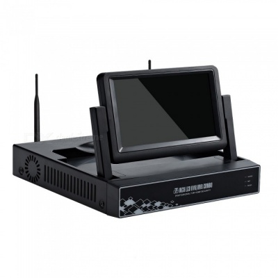 "STRONGSHINE Mini 4CH 1080P /960P/ 720P H.264 ONVIF Wi-Fi NVR with 7"" LCD Screen, Connect with IP Camera (US Plug)"