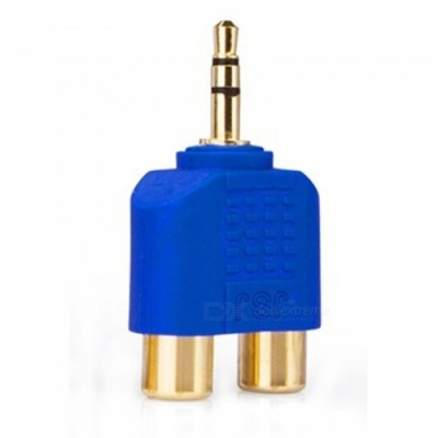 ZHAOYAO Gold-Plated Stereo Sound 3.5mm Male to 2 RCA Female Audio Converter Connector - Blue