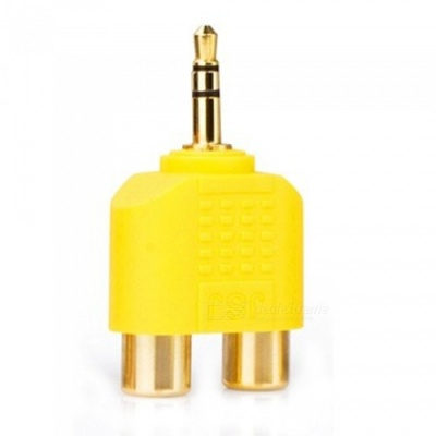 ZHAOYAO Gold-Plated Stereo Sound 3.5mm Male to 2 RCA Female Audio Converter Connector - Yellow
