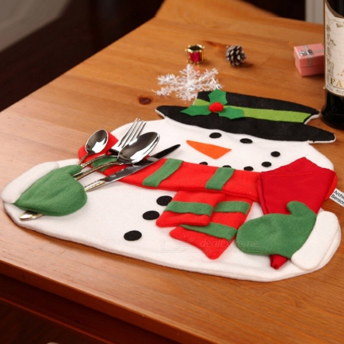 40 x 36cm Cute Adorable Snowman Double Layers Table Mat Pad for Christmas (with Napkin)