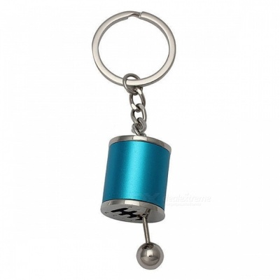 P-TOP Zinc Alloy Key Chain with Emulational Manual 6-Speed Transmission Gear Lever Pendant - Blue