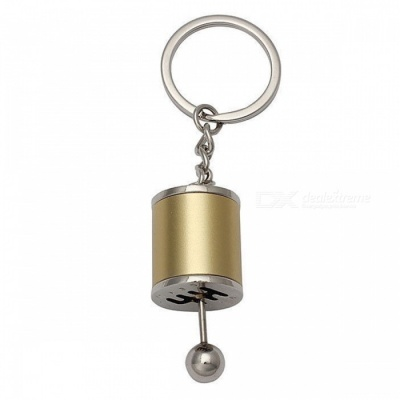 P-TOP Zinc Alloy Key Chain with Emulational Manual 6-Speed Transmission Gear Lever Pendant - Golden