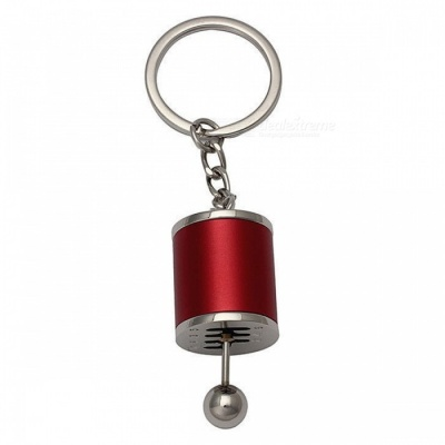 P-TOP Zinc Alloy Key Chain with Emulational Manual 6-Speed Transmission Gear Lever Pendant - Red