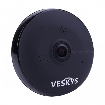 VESKYS 960P 360 Degree HD Full View IP Network Security WiFi Camera 1.3MP Fish Eye Lens - Black (US Plug)