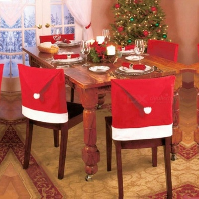 P-TOP 4Pcs Santa Red Hat Chair Backrest Covers for Christmas Home Decoration