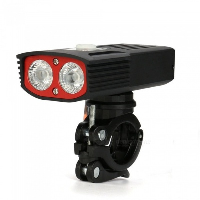 SPO Portable USB Rechargeable 2400LM 5-Mode Bicycle Light with Built-in Battery - Black