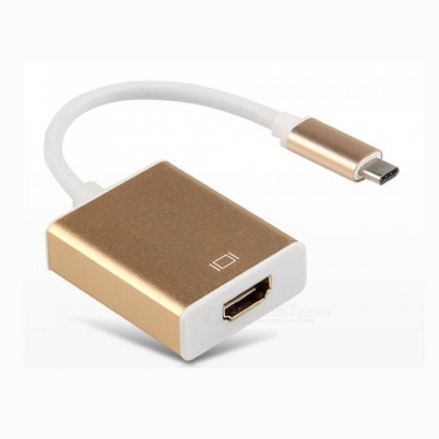 Cwxuan USB 3.1 Type-C to HDMI HD Adapter Connection Cable - Golden