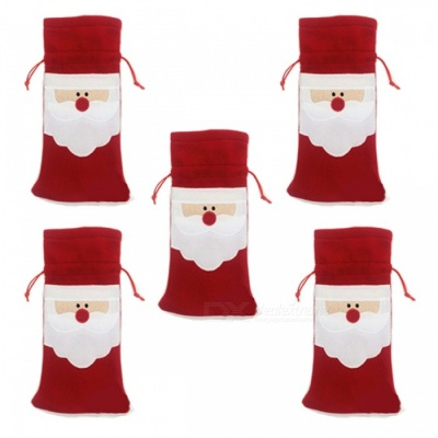P-TOP Merry Xmas Santa Claus Red Wine Bottle Bags for Christmas Dinner Party Table Decoration Ornament (5 PCS)