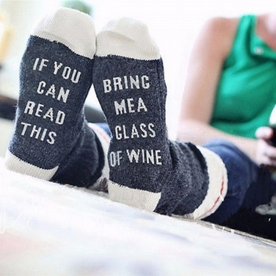 "Novelty Creative Cool Stylish Wine Socks with ""If You Can Read This Bring Me a Glass of Wine"" Letters - Navy + White"