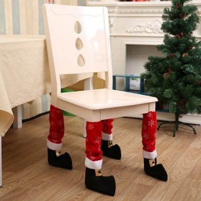 Cute Snow Patterns Table and Chair Foot Cover Gloves Set for Christmas Decorations (4 PCS)