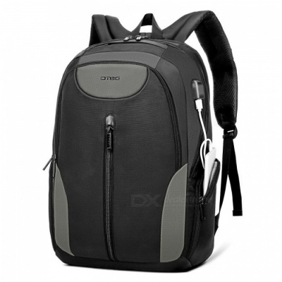 DTBG 17.3 Inches Laptop Backpack Travel Water-Resistant Professional Bag with USB Charging Port for Laptop - Black