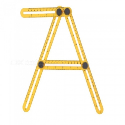 Portabel Professional ABS Plastic Adjustable Four Folding Multi-Angle Rule - Yellow