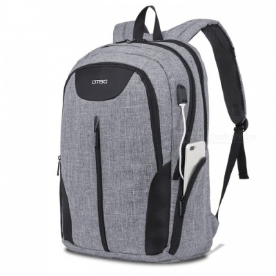 DTBG 17.3 Inches Laptop Backpack Travel Water-Resistant Professional Bag with USB Charging Port for Laptop - Grey