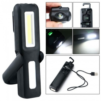 P-TOP Portable USB Rechargeable Energy Saving Magnetic LED Flashlight Stand, Work Light, Camping Lamp Torch - Black