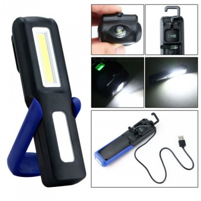 P-TOP Portable USB Rechargeable Energy Saving Magnetic LED Flashlight Stand, Work Light, Camping Lamp Torch - Black + Blue