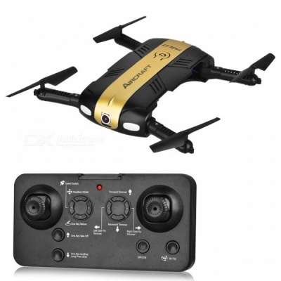 RQ77-24 Folding Four-Axis 4CH 2.4G Wireless RC Quadcopter with 0.3MP Camera (Fixed Height Return Version) - Golden