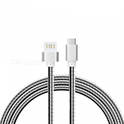 Cwxuan Stainless Steel Spring USB 3.1 Type-C Charging Data Cable for Samsung, Huawei, LG, Oneplus - Silver
