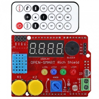 OPEN-SMART Rich Shield + IR Remote Control with Infrared Receiver LED Buzzer Button Light Sensor Temperature Sensor for Arduino
