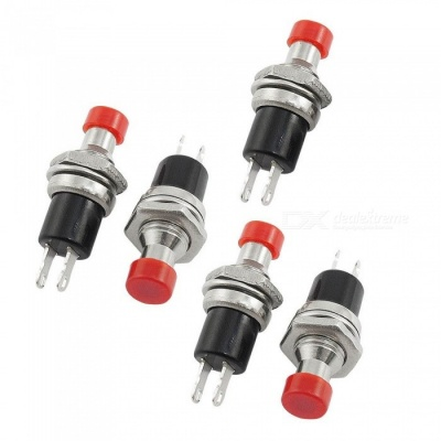 ZHAOYAO 5Pcs Momentary 1 NO Red Cap Push Button Switches, AC 125V 3A / 250V 1A