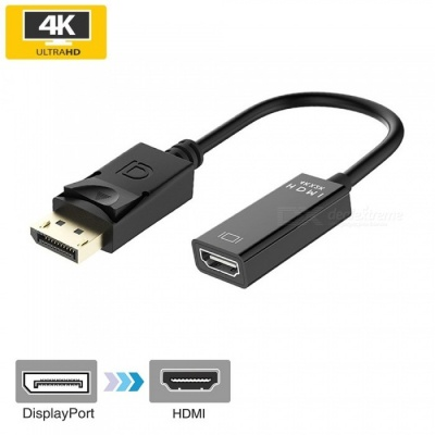 Cwxuan DP Displayport Male to HDMI Female 4K x 2K Converter Adapter Cable - Black