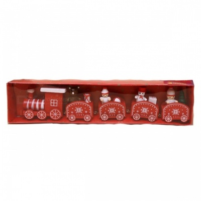 P-TOP Cartoons Wooden Five Small Trains Decorations for Children, Christmas Festive Party Gifts - Red