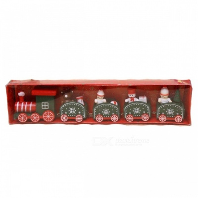 P-TOP Cartoons Wooden Five Small Trains Decorations for Children, Christmas Festive Party Gifts - Green