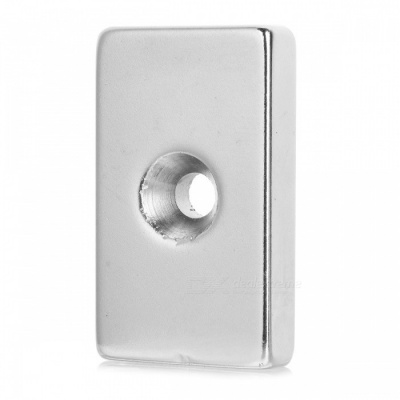 50*30*10-10mm Square Shaped Single Hole NdFeB Magnet - Silver