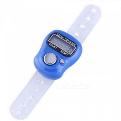 "OJADE Mini Portable 0.8"" LCD Electronic Digital 5-Digit Ring Tally Counter - Blue (1 * AG10)"