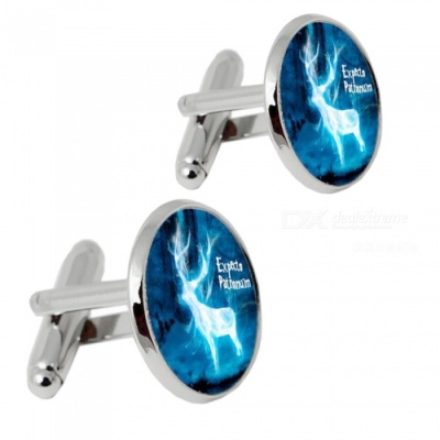 Premium Alloy Animal Pattern Men's Fashion Cufflinks - Silver + Blue (1 Pair)