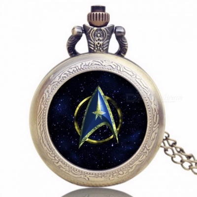 Unique Chic Style Star Trek Theme Pocket Watch with Necklace Chain, High Quality Fob Watch for Men, Women Blue + Black