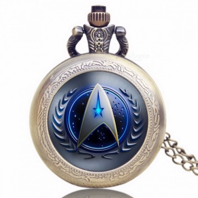 Unique Chic Style Star Trek Theme Pocket Watch with Necklace Chain, High Quality Fob Watch for Men, Women Blue