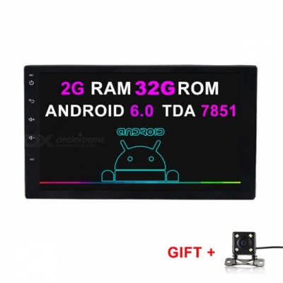 Funrover HD Quad-Core Android 6.0 Car Radio Player w/ Camera, GPS, RDS, Wi-Fi, 2GB RAM + 32G ROM