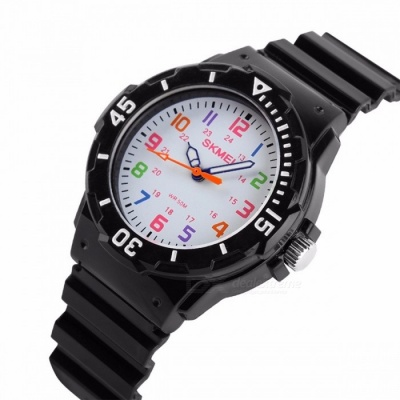 SKMEI 1043 Fashion Casual Children's Jelly Watch, 50m Waterproof Quartz Wristwatch with Clock for Kids Boys Girls Students Black