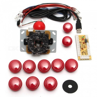 USB DIY Handle Arcade Kit with 24mm / 30mm Buttons, 5 Pin Joystick, USB Cable, Encoder Card - Red
