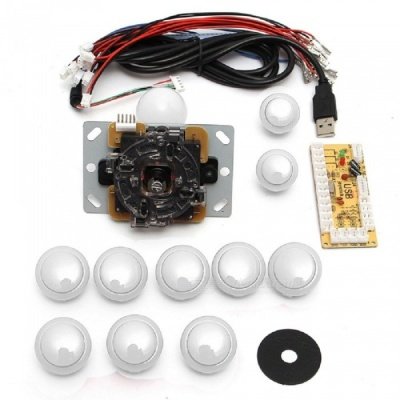USB DIY Handle Arcade Kit with 24mm / 30mm Buttons, 5 Pin Joystick, USB Cable, Encoder Card - White