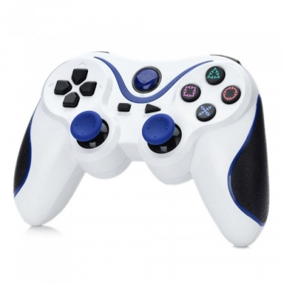 Kitbon Dualshock, Rechargeable Wireless Bluetooth Game Controller Gamepad for PS3 Sony Playstation 3 - White + Blue