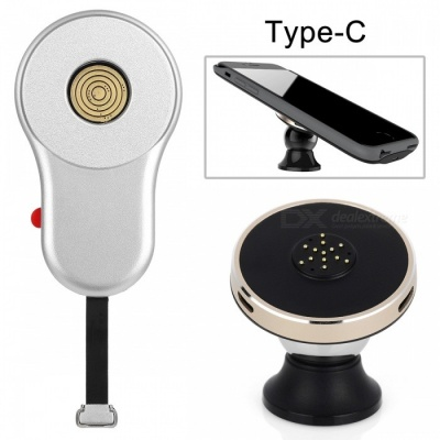 W-03 360 Degree Rotation Magnetic Qi Wireless Charging Dock Charger + Receiver + Phone Holder Stand - Black