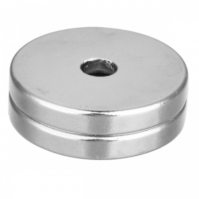 25*4-5mm Round Shaped Single Hole NdFeB Magnet - Silver (2 PCS)