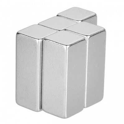 25*10*10mm Rectangle Super Strong NdFeB Magnet - Silver (5 PCS)