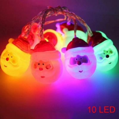 P-TOP 1.5m 10-LED 3V DIY Santa Claus Head Battery Powered Light for Party Square Garden Indoor Outdoor - RGB Light