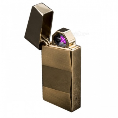 ZHAOYAO Metal Wind-Proof Double Arc Gravity Shake USB Charging Lighter - Golden
