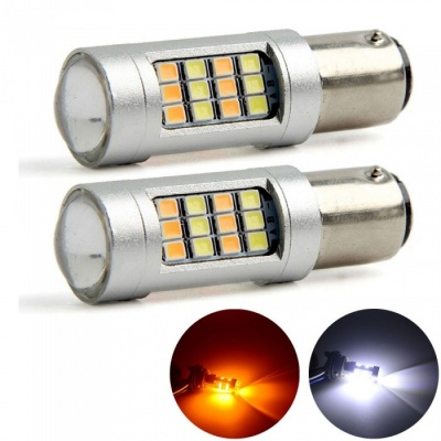 YouOKLight 1157 Dual Color White/Yellow LED Turn Signal Light + Light Daytime Running Light, 2PCS